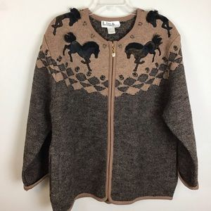 Wool cardigan sweater with horses-size 1X